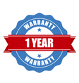 one year warranty seal - round stamp vector image