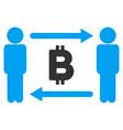 people exchange bitcoin flat icon vector image