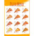 Pizza menu A4 size Template menu vector image