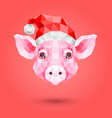 polygonal of pink pig in a new year hat vector image vector image