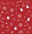 red and white christmas seamless pattern vector image