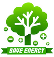 Save energy sign with tree and symbols vector image