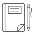 school notebook thin line icon paper and vector image vector image