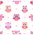 Seamless pattern with owls girls vector image