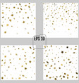 set of abstract patterns of random falling gold vector image vector image