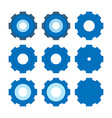 set of gear icon simple flat design blue pictogram vector image