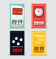 set of happy new year 2019 lettering vector image