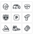 Set of Road Patrol Police Icons Cop Car vector image vector image