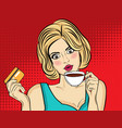 sexy blonde pop art woman with coffee cup vector image