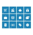 Shopping icons on blue background vector image