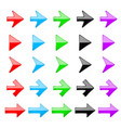 small colored arrows glass 3d icons vector image vector image