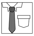 square silhouette close up formal shirt with vector image