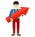 Successful businessman with arrow up vector image