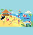 summer vacation beach activities cartoon vector image