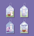 tags with cute female rabbits of easter vector image vector image