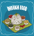 traditional indian dish thali from rice vector image vector image