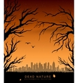 tree branches against backdrop city vector image vector image