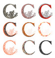 various combination fishnet letter c vector image