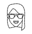 woman with sunglasses smiling vector image vector image