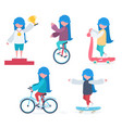 a girl doing sports vector image