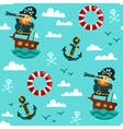 Seamless pattern with pirate on boat vector image