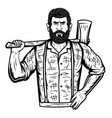 lumberjack with axe on white background vector image