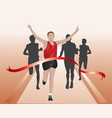 runners crossing the finish line vector image
