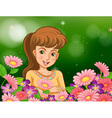 A smiling girl at the garden with flowers vector image vector image