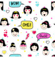 asian style seamless pattern with anime emoticons vector image vector image