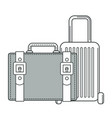 baggage suitcase and valise bag isolated outline vector image vector image
