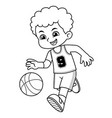 basket ball boy performing dribble bw vector image vector image