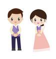 beautiful bride and groom couple in wedding dress vector image vector image