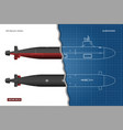 blueprint submarine military ship vector image vector image