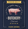 butchery pig vintage advertising poster vector image vector image