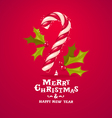 candy cane and holly vector image vector image
