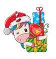 cartoon unicorn with gifts in a santa hat vector image vector image