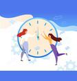 cartoon woman stop clock hands time management vector image