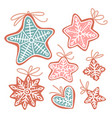 christmas cookies hand drawn vector image vector image