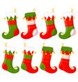 colorful cartoon christmas stocking set vector image