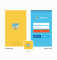 company website splash screen and login page vector image vector image