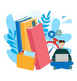 concepts for e-learning online education e-book vector image vector image
