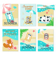 cute animals taking rest on beach card set vector image vector image