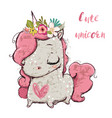 cute cartoon unicorn vector image vector image