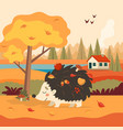 cute hedgehog with autumn background with tree and vector image vector image