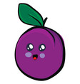 cute plum on white background vector image vector image