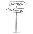 drawing of old two directional arrow road sign vector image vector image