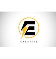 e letter logo design with lighting thunder bolt vector image