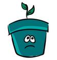 emoji a sad flower pot or color vector image vector image