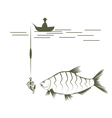 fisherman on boat and bream design template vector image vector image