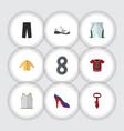flat dress set of heeled shoe sneakers trunks vector image vector image